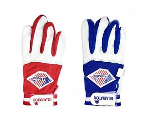 Youth-Baseball-Batting-Softball-Batters-Gloves-Leather-S-M-L-XL-Red-Blue-Pee-Wee