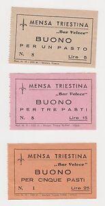 3 Buoni Mensa da 1 - 3 - 5 pasti usati a TRIESTE nel 1945 Occupazione Americana - Italia - 3 Buoni Mensa da 1 - 3 - 5 pasti usati a TRIESTE nel 1945 Occupazione Americana - Italia