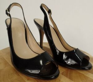 5a272693a1a Enzo Angiolini Women s Black Patent Leather SlingBack Open Toe Shoes ...