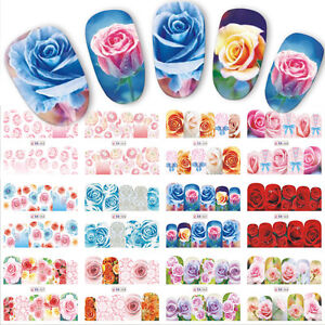 Nail-Art-Sticker-Water-Decals-Transfer-Wraps-Stickers-Spring-Flowers-Roses