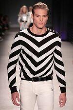 BNWT BALMAIN x H&M Black White Jacquard Knit Stripes Monochrome Jumper Sweater M