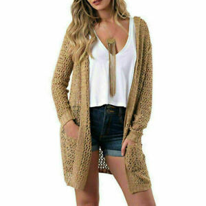 Women-Cardigan-Open-Front-Sweater-Long-Sleeve-Loose-Jacket-Hollow-Coat-Tops-HOT