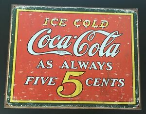 COCA-COLA-Tin-Tole-Red-Advertising-Poster-Wall-C1