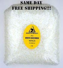 WHITE BEESWAX BEES WAX ORGANIC PASTILLES BEARDS PREMIUM 100% PURE 32 OZ, 2 LB