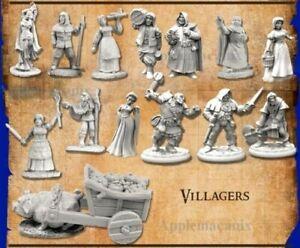 VILLAGERS-Miniatures-Reaper-Bones-4-Kickstarter-Expansion-Set-D-amp-D-Mini-039-s-NEW