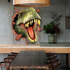 broken wall dinosaur pass through 3d wall decal funny art decal