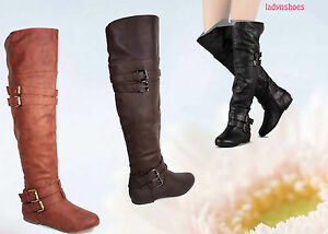 Plat-Bride-a-Boucle-Equitation-Genou-Cuisse-Haute-Bottes-Chaussures-Femmes-Taille-6-10-NEUF