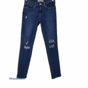 Levis 711 Womens Distressed Ripped Skinny Jean Dark Wash Size 26