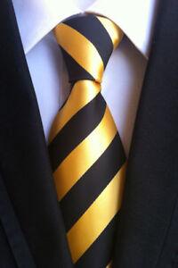 Yellow-Stripe-Style-Elegance-Silk-tie-gift-JACQUARD-WOVEN-Men-039-s-Ties-Necktie