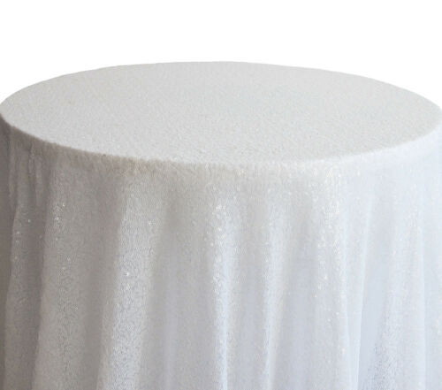 "SEQUIN TABLECLOTH OVERLAY 120/"" ROUND 9 COLOURS EVENTS WEDDING DECOR"