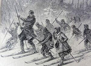 Crasstranger con figli in un escursione quando si sci LEGNO ORIG PER CHIAVE 1880