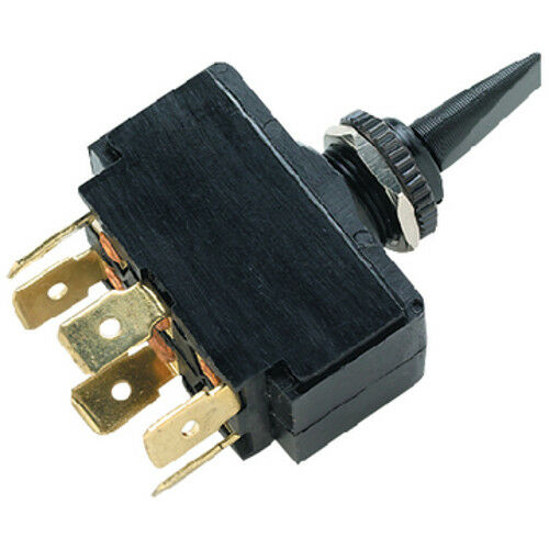 On Toggle Switch for Boats Black DPDT 3 Position On Off