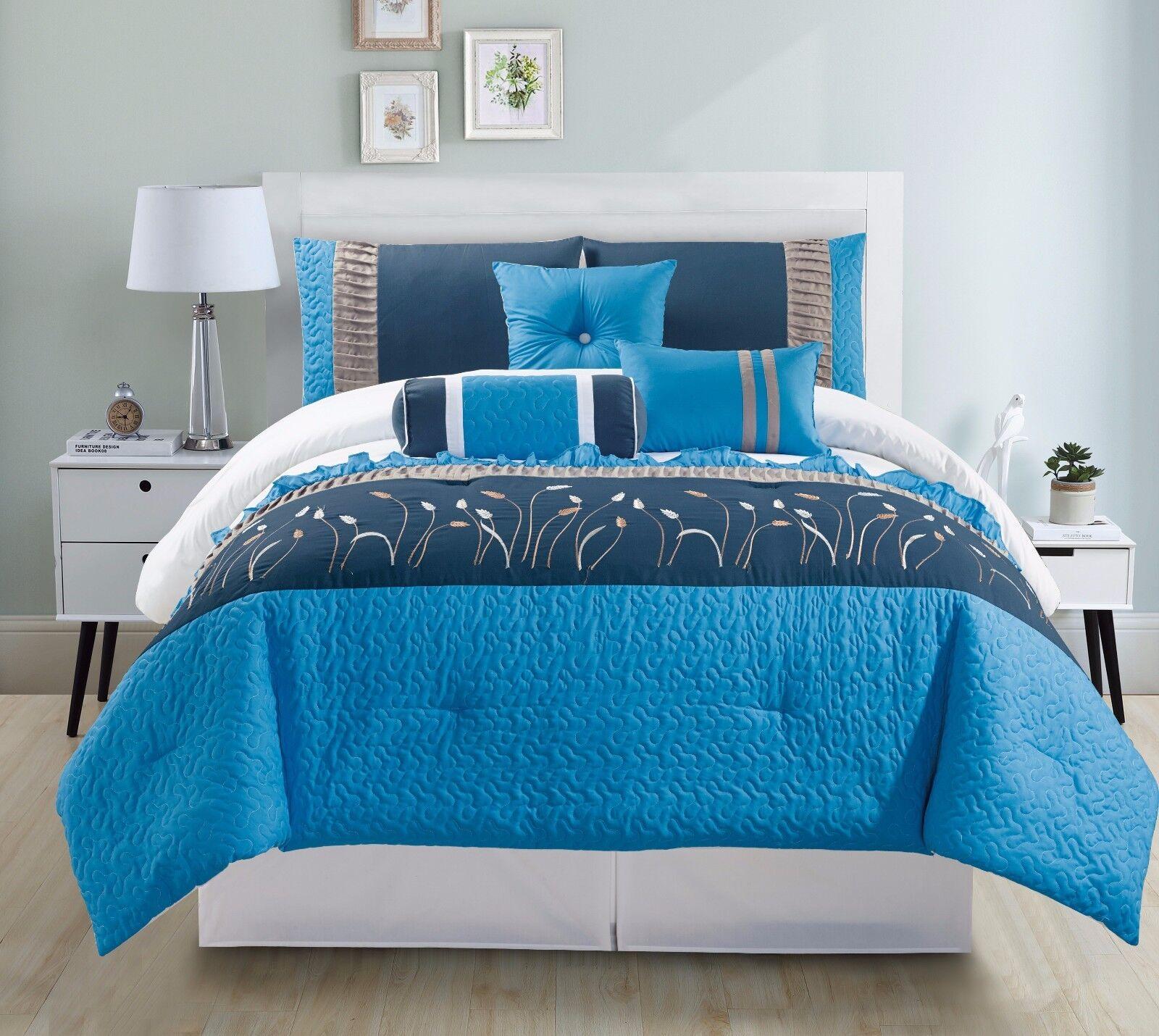 7pc Microfiber Aqua, Blau & Weiß, Striped with Embroiderot Design Comforter Set