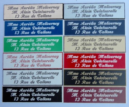 Plaque de porte 3 lignes calligraphique 50 x 150 mm 15 couleurs  au choix