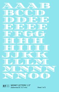 K4 G Decals White 1/2 Inch Money Letters Letter Number Alphabet Set