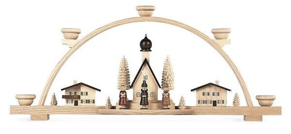 Nouveau Schwibbogen alpendorf avec étoile chanteur nature 20 cm kurrende Seiffen Alpes bois