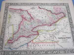 Colored Map Of Canada.1865 Colored Map Canada West Province Of Ontario Great Lakes Ebay