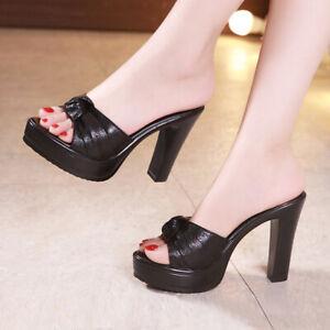 New Womens Slip On Sandals Ladies High Heels Platform Block Shoes Peep Toe Mules