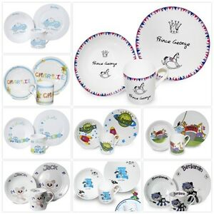 Image is loading 3-Pcs-Childrens-Personalised-Boys-Ceramic-Breakfast-Set-  sc 1 st  eBay & 3 Pcs Childrens Personalised Boys Ceramic Breakfast Set Mug Bowl ...
