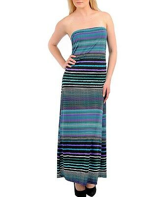 New Blue Multi-color Long MAXI Empire Waist Summer DRESS Beach Cocktail S M L XL