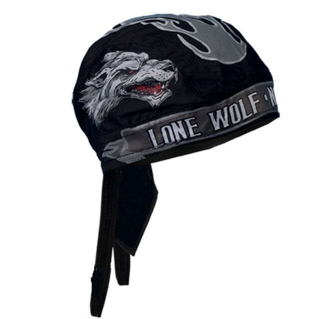 Lone Wolf No Club lined pre tied Biker Motorcycle Bandana Zandana Do Rag
