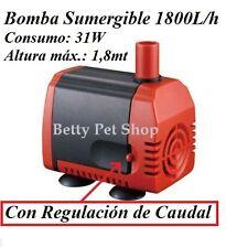 BOMBA SUMERGIBLE de 1800L/H - 31W. Para Acuario Fuente Estanque Hidroponia Grow