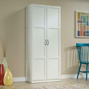 Details About Tall Pantry Cabinet White Double Doors Kitchen Cupboard Shelves Storage Us