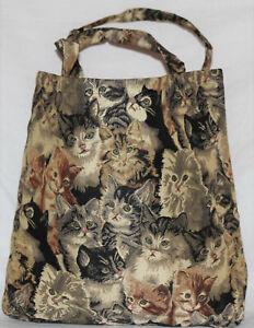 Katzen Einkaufsbeutel Kätzchen Einkaufstasche Shopper Gobelin Damen Tapestry Bag