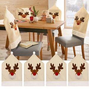 4PC-Silla-De-Ciervo-Sombrero-cubre-silla-de-cena-de-Navidad-Decoracion-Navidad-Gorro-conjuntos-Reno