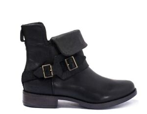 b77ca696157 Details about New UGG Australia CYBELE Black Distressed Leather Ankle Boots  Women's Size 9.5