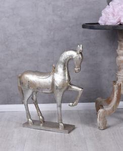 Pferdefigur-XXL-Pferd-Silber-Pferdestatue-Schaukelpferd-Dekopferd-Xmas-Figur