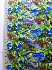 """Dino-Might"" Dinosaur Repeat Giordano Studios Fabric Cotton BTY"
