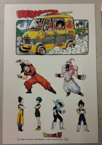 1989 DBZ Dragon Ball Z Vintage Toei Animation Complete Set 10 Sheets of Stickers