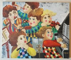 Isaac-KAPLAN-b1969-large-original-superb-signed-oil-painting-Piano-amp-Flute