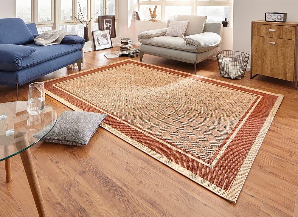 Design Teppich Flachgewebe Classy mit Bordüre Bordüre Bordüre Flechtoptik Terracotta Sisal-Look | Räumungsverkauf  258d13