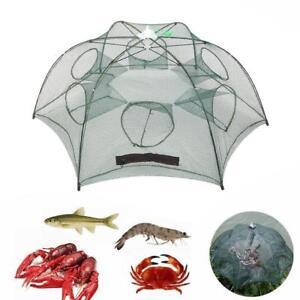 12 Holes Foldable Automatic Fishing Nylon Shrimp Cage Crawfish Trap Net Cast UK