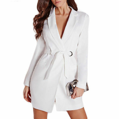 Women's Ladies White Ring-Belted Long Sleeve Blazer Dress Formal Party new