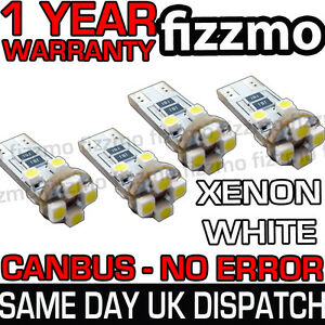 4-x-8-SMD-LED-501-T10-W5W-WEDGE-CANBUS-NO-ERROR-FREE-XENON-WHITE-SIDE-LIGHT-BULB