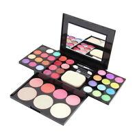 Make Up Palette Set Eyeshadow Lip Gloss Foundation Powder Blusher Puff Mirror FT