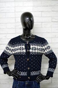 Cardigan-HOLLISTER-Donna-Taglia-Size-L-Woman-Pullover-Lana-Cardigan-Vintage-BLU