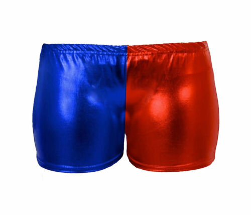 Kids Adults Halloween Suicide Squad Hot Pant Ladies Womens Metallic Shorts