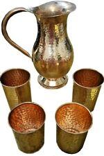 New Pure Copper Handmade Jug  Water Pitcher 50 oz & 4 Four glasses 12 oz set