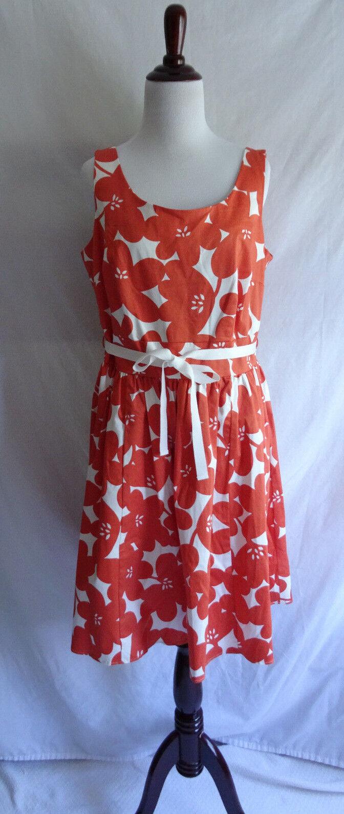 Boden 10 Orange Weiß Retro Flower Fit & Flare Marilyn Tea Dress Vtg. 50's Style
