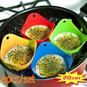 4pcs Silicone Egg Poacher Cook Poach Pods Poached Baking Cup Kitchen Cookware UK