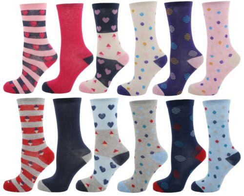 Foxbury Ladies Cotton Rich Patterned Socks Size 4-7 EUR 37-41