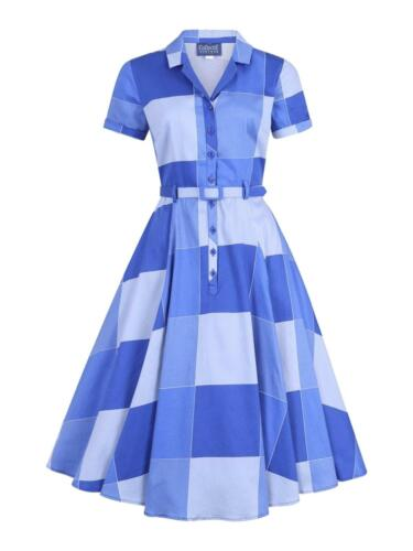 Vintage Shirtwaist Dress History    Vintage Style 1950s Fifties Blue Picnic Check Belted Swing Dress £64.99 AT vintagedancer.com