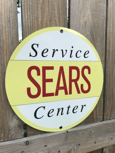Sears Service Station Center Oil Gas Mechanic advertising garage sign baked