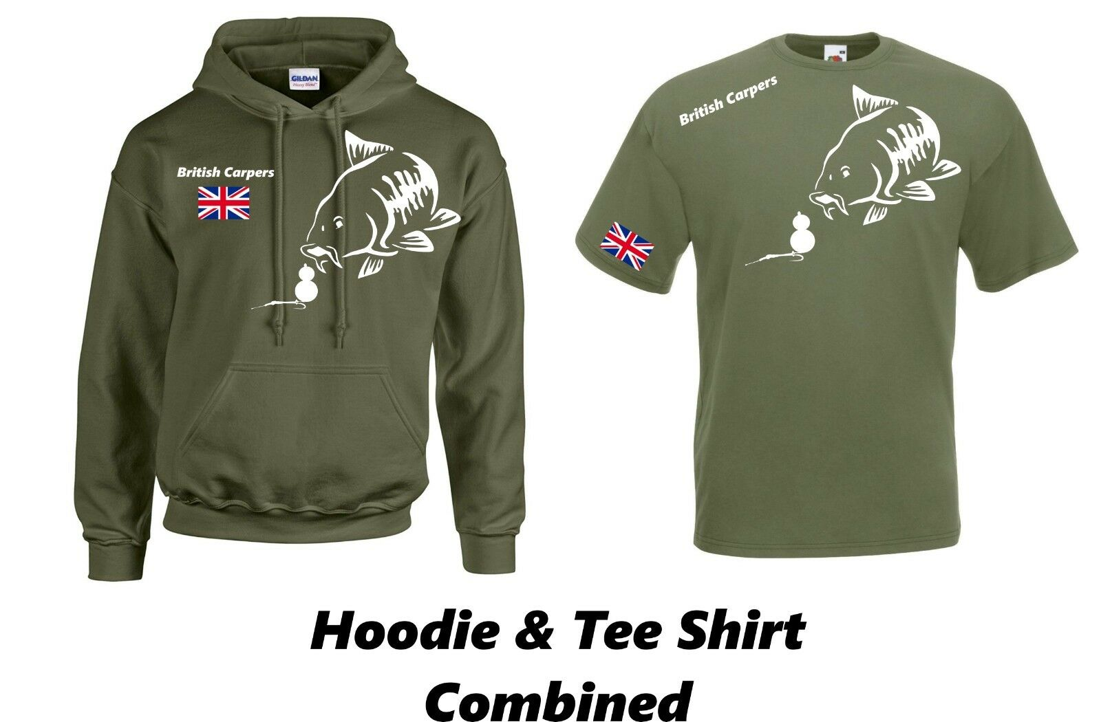 CARP FISHING CLOTHING,HOODIE & TEE SHIRT COMBINATION ( OLIVE )