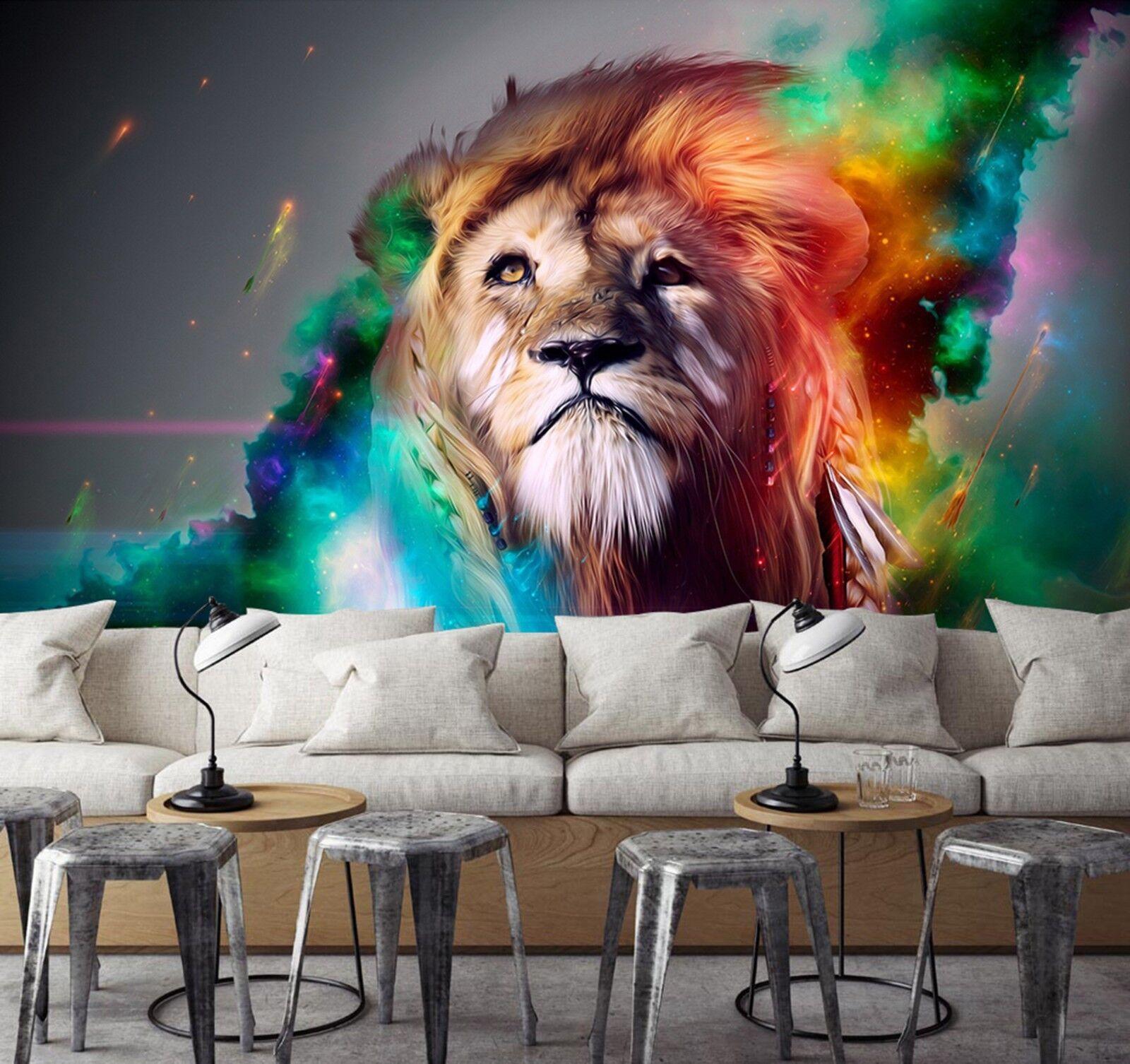 3D Gemalter Löwe Flamme 893 Tapete Wandgemälde Tapeten Bild Familie DE Lemon | Eleganter Stil  | Offizielle Webseite  | Internationale Wahl