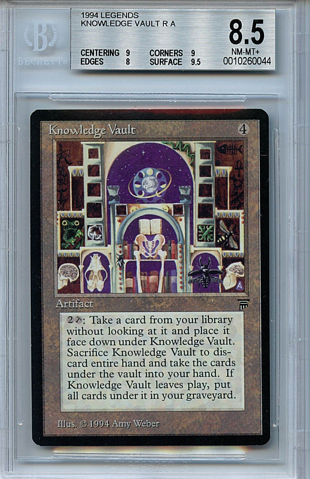 MTG Legends Knowledge Vault BGS 8.5 NM-MT+ magic card 0044